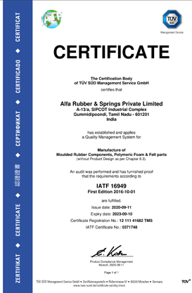 Rubber Industry - TUV Certificate
